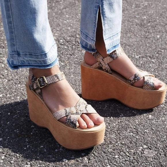 21e563bfa11 Free People Shoes - Kork Ease Heights Snakeskin Platform Shoes
